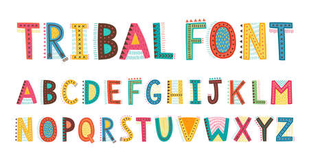 Tribal cute alphabet font. Uppercase doodle Letters. Vector hand drawn typography. Childish typeface. - Vector illustration