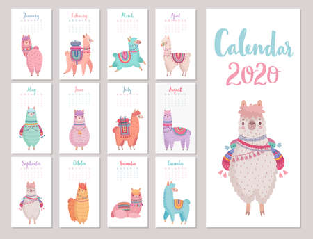 Calendar 2020 with Cute Llamas. Colorful alpacas. Vector illustration.