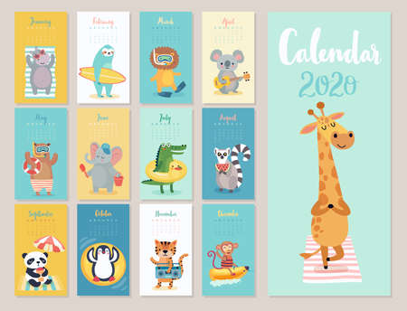 Calendar 2020. Cute monthly calendar with beach animals. Hand drawn style characters.