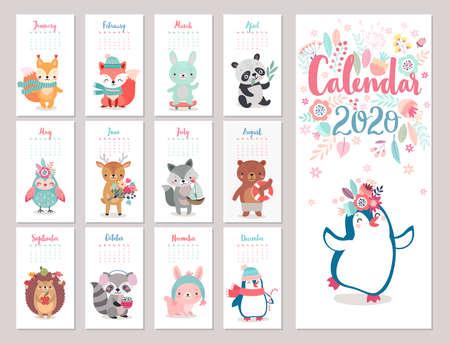 Calendar 2020 with Boho Woodland characters. Cute forest animals. Vector illustration. - bear, fox, raccoon, panda, deer, rabbit, owl and squirrel. Ilustração