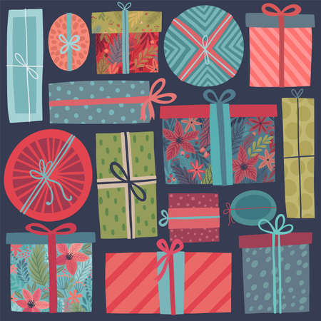 Christmas gifts set - hand drawn style. Vintage Vector illustration.