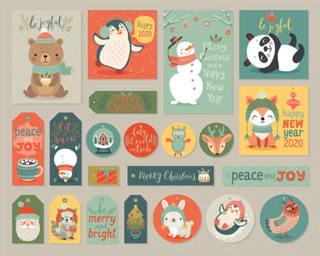 Christmas cards and gift tags set with animals. Woodland characters hand drawn style. Vector illustration. Ilustração