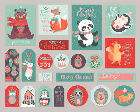 Christmas cards and gift tags set with cute animals. Woodland characters hand drawn style. Vector illustration. Ilustração
