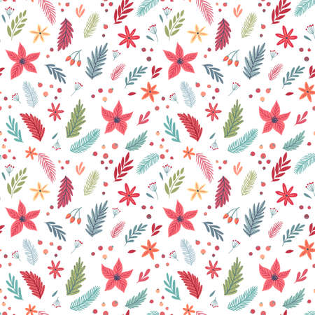 Christmas Seamless floral pattern, hand drawn decorative elements.
