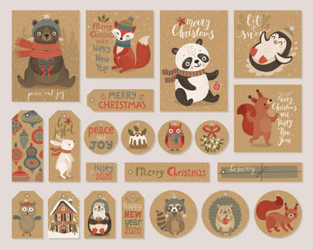 Christmas craft paper cards and gift tags set, hand drawn style.