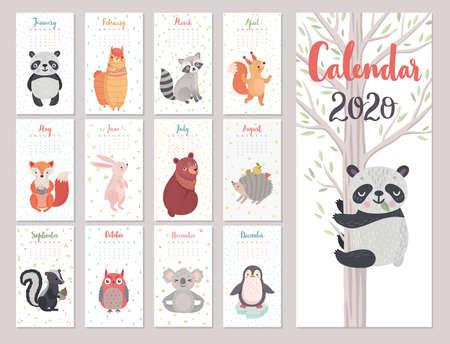 Calendar 2020 with Animals . Cute forest characters. Ilustração