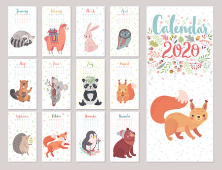 Calendar 2020 with Woodland characters. Cute forest animals.