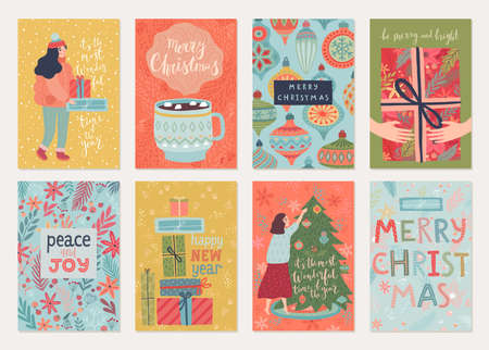 Christmas card set with characters and other elements. Hand drawn style flyers.