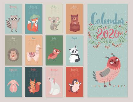 Calendario 2020 con personaggi Woodland. Simpatici animali della foresta. Illustrazione vettoriale.