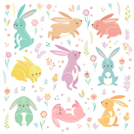 Cute bunnies sleeping, running, sitting. Lovely Easter characters. Vector illustration.
