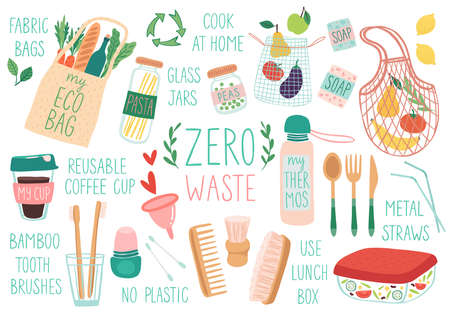 Zero Waste reusable items, set of eco friendly bags, brushes, cups, jurs. Doodle vector illustration. Hand drawn vector illustration.