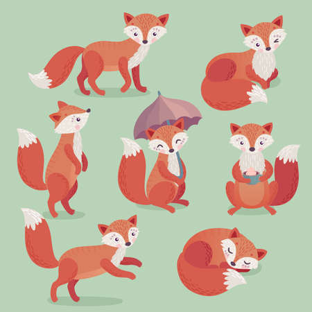 Fox set hand drawn style. Cute Woodland characters playing, sleeping, relaxing and having fun. Vector illustration. Ilustração
