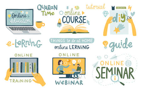 Online education set. Tutorial, Seminar, webinar, training, diy. Lettering and other elements. Things to do at home during Lock Down. illustration.