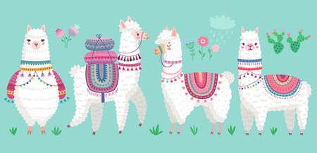 Cute Llamas. Funny hand drawn alpaca characters. Vector illustration Ilustração