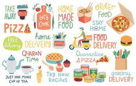 Food and Quarantine Covid-19 letterings and other elements. Home delivery and Home cooking. Vector illustration. Ilustração