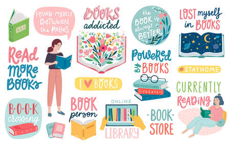 Books letterings, reading people and other elements. Motivational quotes set. Flat Vector illustration. Ilustração