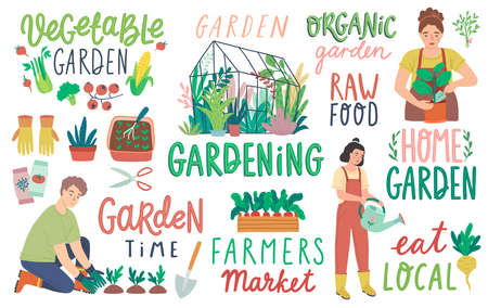 Gardening letterings, working people and other elements. Farmers products and home Garden set. Flat Vector illustration.