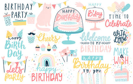 Happy Birthday lettering set. Hand drawn letterings and other elements - cakes, gifts, masks, candles, balloons. Vector illustration. Ilustração