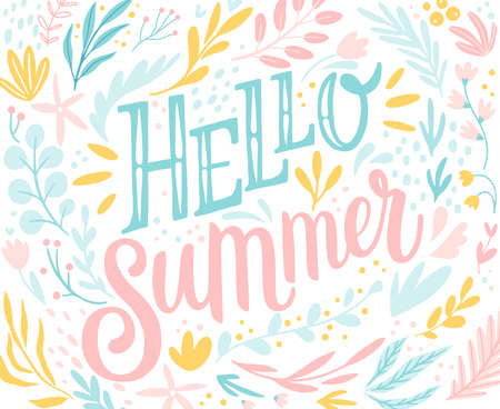 Hello Summer lettering design with floral elements - hand drawn Vector illustration.