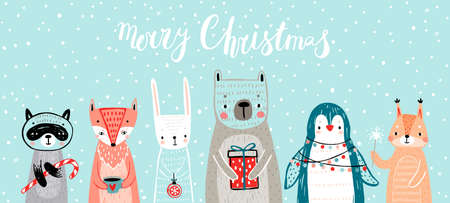 Christmas card with animals, hand drawn style. Woodland characters, bear, fox, raccoon, rabbit, penguin and squirrel. Vector illustration. Ilustração
