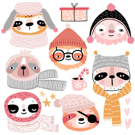 Cute Sloths in winter clothes. Childish characters - Christmas theme. Vector illustration.