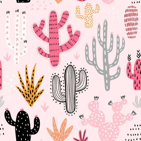 Seamless Cacti pattern. Cute colorful hand drawn background. Vector illustration. Ilustração