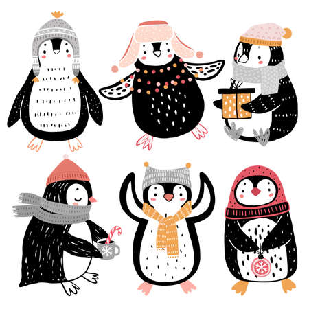 Cute penguins celebrating Christmas eve having fun, drinking tea. Funny characters. Vector illustration.