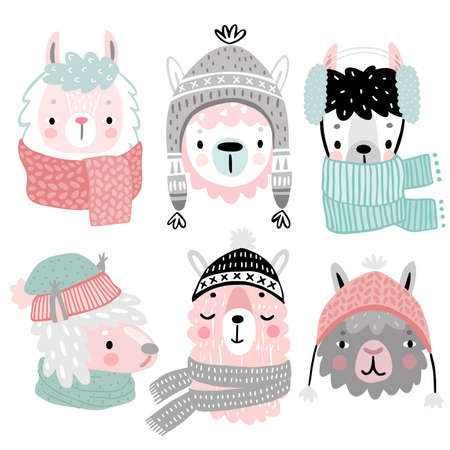 Cute Llamas in winter clothes. Childish Alpaca characters. Vector illustration. Ilustração