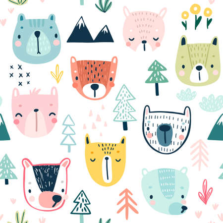Seamless pattern with Cute Sloths. Childish Background with sweet characters and other elements. Vector illustration. Ilustração