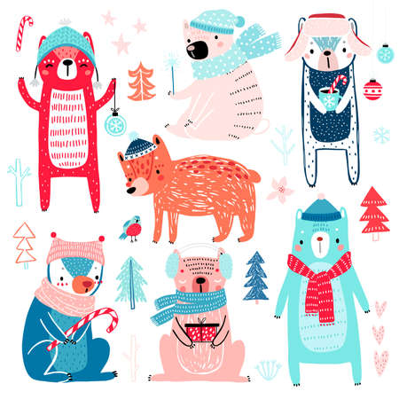 Cute Bears in winter clothes. Childish characters - Christmas theme. Vector illustration.
