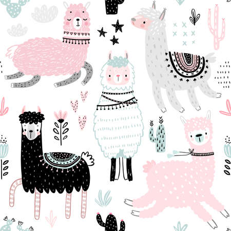 Seamless pattern with Cute Llamas. Childish Alpaca background characters with cacti and other elements. Vector illustration.