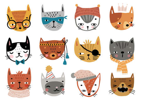 Cute kittens. Childish characters with different emotions - joy, anger, happines and others. Vector illustration.