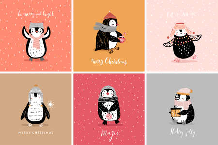 Cute penguins cards celebrating Christmas eve, having fun, drinking tea. Funny characters. Vector illustration.