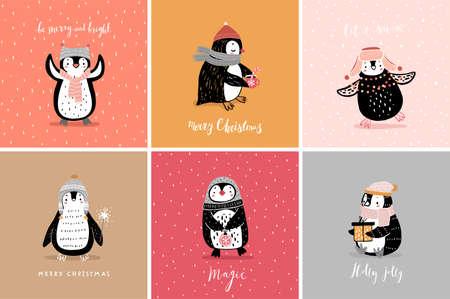 Cute penguins cards celebrating Christmas eve, having fun, drinking tea. Funny characters. Vector illustration. Ilustração