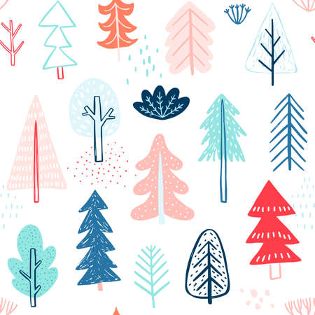 Seamless pattern with Cute winter trees. Childish Colorful Background. Vector illustration. Ilustração