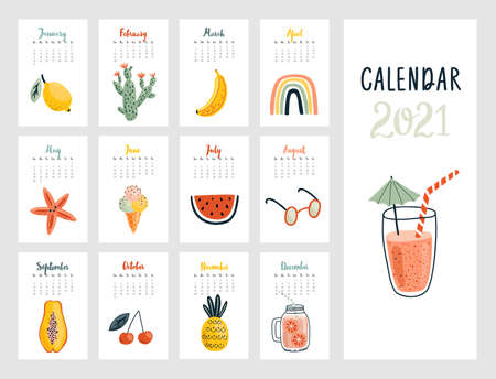 Calendar 2021. Cute monthly calendar with lifestyle objects, fruits, and other elements. Hand drawn style illustration.