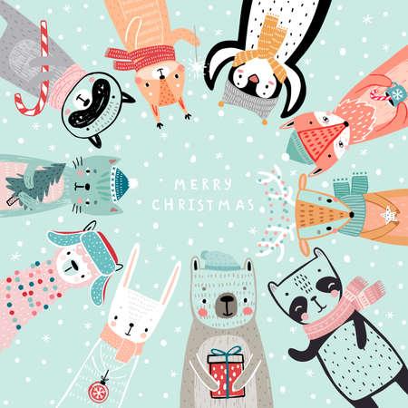Christmas card with animals, hand drawn style. Woodland characters, bear, fox, raccoon, rabbit, penguin, panda, deer and others. Vector illustration. Ilustração