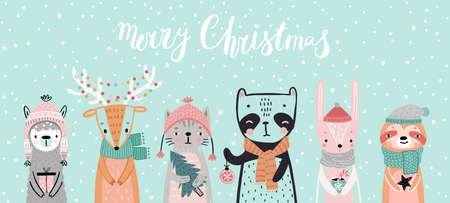 Christmas card with animals, hand drawn style. Woodland characters, panda, rabbit, sloth, deer, llama and cat. Vector illustration.