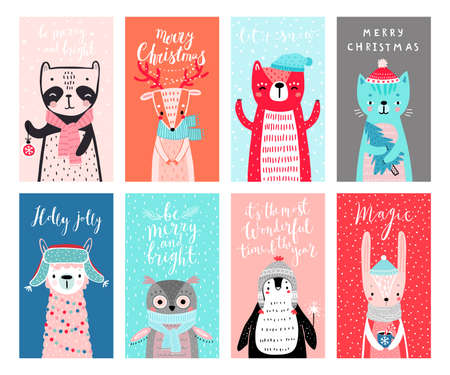 Cute cards with woodland animals celebrating Christmas eve, having fun, drinking tea. Funny characters. Vector illustration.