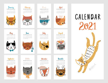 Calendar 2021. Monthly calendar with cute Cats. Hand drawn style illustration.