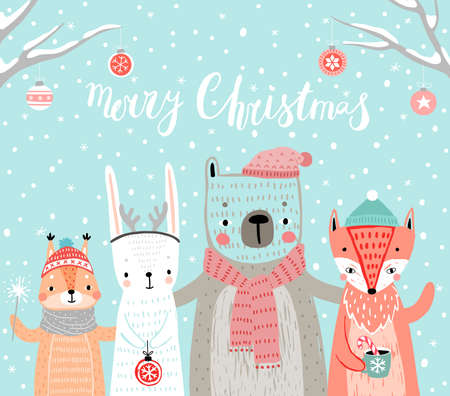 Christmas card with animals, hand drawn style. Woodland characters, rabbit, bear, fox and squirrel. Vector illustration. Ilustração