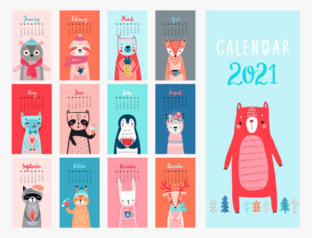 Calendar 2021. Monthly calendar with cute Animals. Hand drawn style illustration.