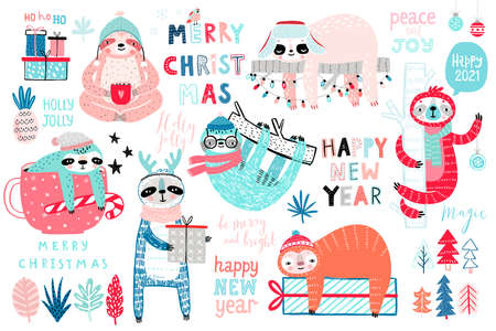 Christmas Sloths set, hand drawn style - calligraphy, cute sloths and other elements. Vector illustration. Ilustração