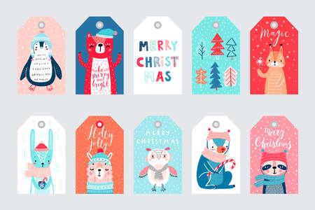 Cute gift tags with woodland animals celebrating Christmas eve, having fun, and handwritten letterings. Funny characters. Vector illustration.