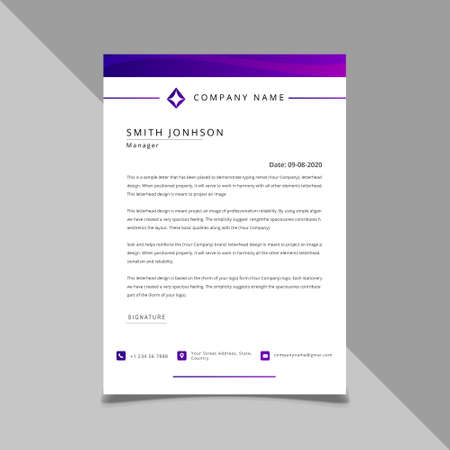gradient color Letterhead Design Template, standard size.