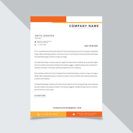 Illustration vectorielle de conception de modèle de papier à en-tête d'entreprise orange jaune Vecteurs