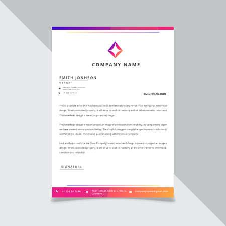 gradient color Letterhead Design Template, standard size.