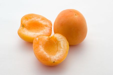 Apricots on the white background