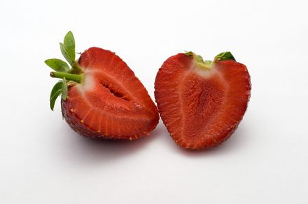 Half of Strawberry on the white background photo