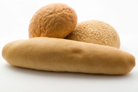 Wheat bread on the white background